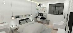 Quarto com home office com inspiração escandinava e minimalista, com tons neutros e opacos