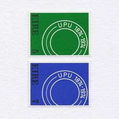 100th Anniversary of World Mail Union (5p+7p). Ireland, 1974. Design: Robert Ballagh. #mnh #graphilately