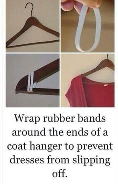 Life Hack: Rubber bands on hangers to prevent clothes from slipping. #fashion #tip