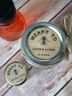 Meant to Bee KRAFT paper Canning jar labels, customized round stickers for mason jars, wedding and bridal shower favors, honey bee, CanningCrafts, $6