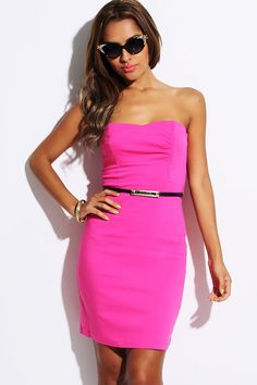 #1015store.com #fashion #style hot pink ruched sweetheart strapless belted pencil party dress-$15.00