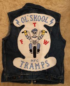 Ol'skool Tramps mfc, bikers Vintage Biker, Vintage Denim, Vintage Fashion, Motorcycle Vest, Motorcycle Clubs, Chain Stitch Embroidery, Biker Clubs, Harley Davidson Motorcycles, Kfc