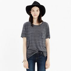 A perfect, just-a-bit-boxy pocket tee in a subtle space-dye stripe.