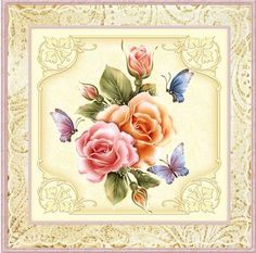 English rose 7x7 card with decoupage on Craftsuprint designed by Angela Wake - made by Julie McGregor -