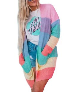 ZESICA Women's Long Sleeve Rainbow Color Block Open Front Drape Oversized Knitted Sweater Cardigan with Pockets - allnewtrendy Rainbow Cardigan, Athleisure Shoes, Best Cardigans, Older Women Fashion, Womens Fashion, Cosplay, Color Block Sweater, Looks Cool, Women's Fashion Dresses