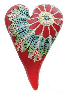 Red Daisy Heart: Laurie Pollpeter Eskenazi: Ceramic Wall Art | Artful Home