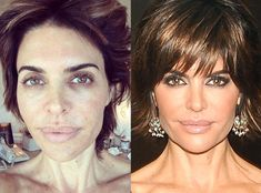 Lisa Rinna from Real Housewives of Beverly Hills beauty secrets! Her signature hairstyle, Lisa Rinna& lips expalined, her favorite lipstick and more. Lisa Rinna Wig, Lisa Rinna Haircut, Hollywood, Celebrity Makeup Transformation, Cleopatra Beauty Secrets, Celebs Without Makeup, Makeup Over 50, Beauty Makeover, Makeup Before And After