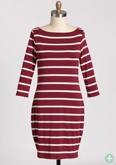 Paris Dreams Curvy Plus Dress In Burgundy $36.99 at shopruche.com. Chic and stylish, this simple burgundy and white striped dress is finished with a boat neckline and flattering three-quarter sleeves. Pair this timeless dress with boots and a coat on chilly day and wear it with simple jewelry and...