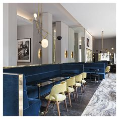 Vincenzo de Cotiis - T'A Milano bistro commercial restaurant design blue velvet banquette seating modern mid-century luxe glamour interior