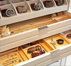 Specialized jewelry/accessory holders. Note belt/bracelet storage-time consuming, but beautifully/accessibly displayed.  Ring display more do-able