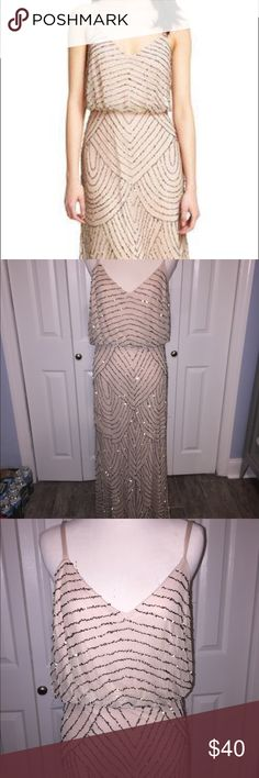 Adrianna Papell Beaded Floor Dress Size 8!  Bought at a sample sale! Floor length beaded dress by Adrianna Papell. Silver beads- there's some loose/pulled beads. Pale pink/beige dress. Adrianna Papell Dresses