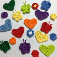Handmade Crocheted Flowers Butterflies and Hearts in Rainbow shades by RoyalCrownHandmade on Etsy