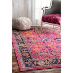nuLOOM Vintage Persian Distressed Floral Pink Rug (5' x 7'5)