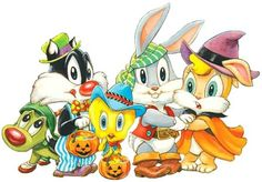 🐾Teddy Bear Dreams © photos: Bugs Bunny & Friends Halloween - Tags with Extras - Looney Toons, Baby Looney Tunes, Looney Tunes Cartoons, Bugs Bunny, Halloween Tags, Baby Halloween, Cartoon Tv, Cartoon Shows, Cartoon Drawings