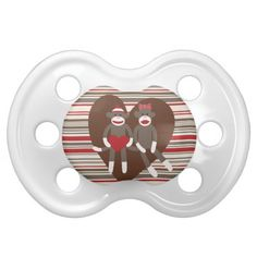 Sock Monkeys in Love Valentine's Day Heart Gifts Baby Pacifiers