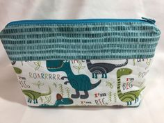 Dinosaur Themed Cosmetic/Make Up Bag by MommyMaryCrafts on Etsy