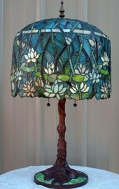 Tiffany Style Stained Leaded Glass Lotus Water Lily Pond Lamp Mosaic Base   eBay