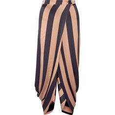 Stella McCartney Wrap-effect striped satin tapered pants (£410) ❤ liked on Polyvore featuring pants, satin pants, drape pants, drapey pants, wrap pants and peg-leg pants