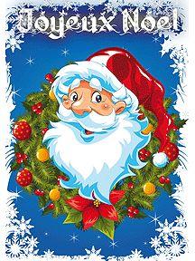 Cartes de Joyeux Noël avec le père noël et une couronne, à imprimer