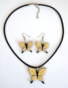 Necklace and earring sets in quilling butterflies by ArtPopArt