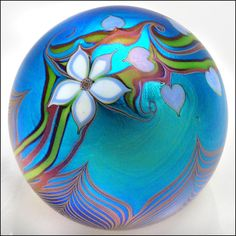 """Orient & Flume Pulled Feather Flower Heart Art Nouveau Glass Paperweight circa 1980 - Simply Beautiful w' surface decoration of brilliant Blue layered by a white 5 petal flower, periwinkle blue hearts & 2-tone trailing vines above a ring of pulled feathers - a really Stunning, shimmering example of its kind - it measures 3"""" in diameter & has been dated & signed on the foot/bottom - Size 3"""" in diameter -  eBay★❤★"""