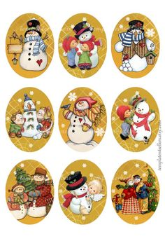 Digital Collage Sheet Snowman  Christmas New Year 30x40 mm oval images Vintage Scrapbooking Pendants