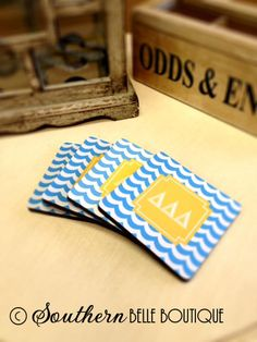 Personalized Coasters Set of 4 Delta Delta Delta by rrpage on Etsy, $25.00