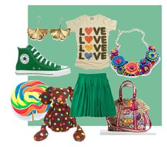 =Love= =) by giubagnols on Polyvore featuring polyvore, fashion, style, PalmerCash, A.P.C., Converse, Coach, Tarina Tarantino, Aurélie Bidermann, Jellycat, GREEN and clothing