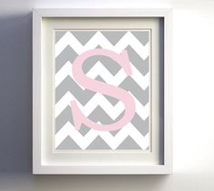Personalized Monogram Chevron Initial Grey Light Pink Custom wall decor more colors available 8x10 on Etsy, $16.00