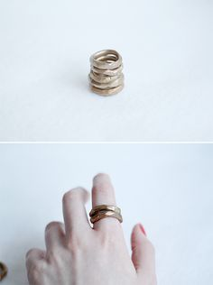 Faux Gold Hammered Rings Fall For DIY tutorial