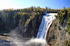 Angled view of Chute Montmorency from the top of the Panoramic Stairs Quebec City, Waterfalls, Stairs, Canada, River, World, Top, Outdoor, Outdoors