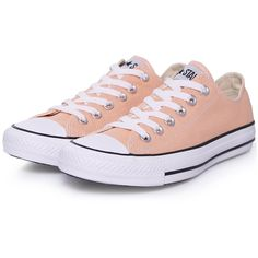 Converse Sneakers Classic Peach ($54) ❤ liked on Polyvore featuring shoes, sneakers, converse, sapatos, zapatos, orange, converse shoes, orange sneakers, white-soled shoes and peach shoes