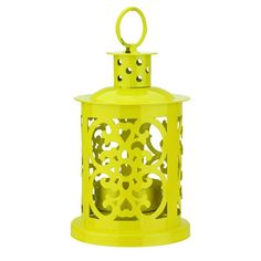 This charming mini lantern features a shiny yellow color and a cut out pattern of beautiful scroll-work and polka dots making it a great addition to any patio or interior decor. Ring on the top can be used for hanging. Features a twist-to-secure metal insert that makes placing and securing the candle inside easy. Holds (1) tea light or votive candle (candle not included). Material(s): Tin.