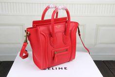 Celine Nano Luggage Bag in Red Natural Calfskin - $269.99  http://www.lhbon.com/celine-nano-luggage-bag-in-red-natural-calfskin-p-491.html