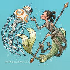 Star wars and little mermaid crossover Star Wars Fan Art, Arte Disney, Disney Art, Star Wars Desenho, Sirens, Geeks, Pixar, Mermaid Illustration, Fanart