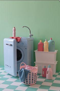 Smeg 50 S Retro Style 60cm Washing Machine With Sink Pink