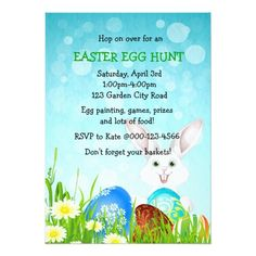 Easter Egg Hunt Invitations Easter Bonny & Eggs Egg Hunt Party Invite