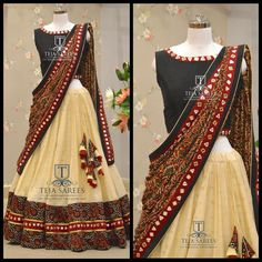 Your Official Guide to Find Best Half Saree Blouse Designs Indian Gowns Dresses, Indian Fashion Dresses, Dress Indian Style, Indian Designer Outfits, Indian Wear, Indian India, Fashion Outfits, Lehenga Saree Design, Half Saree Lehenga