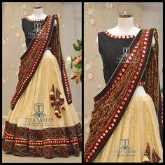 Your Official Guide to Find Best Half Saree Blouse Designs Lehenga Saree Design, Half Saree Lehenga, Lehnga Dress, Lehenga Designs, Anarkali, Indian Lehenga, Bridal Lehenga, Patiala Salwar, Dress Skirt