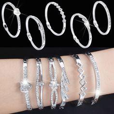 Fashion Jewelry Crystal Rhinestone Love Bracelet Bangle Cuff Charm Women's Gift #Unbranded #Bangle