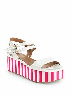 Love Moschino Patent Leather Striped Platform Sandals
