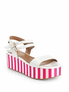 Love Moschino Patent Leather Striped Platform Sandals