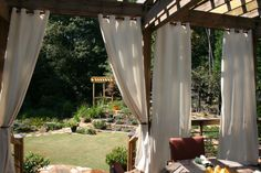 backyard curtains, old sheets picked up from thrift store, bleached... ideas flowing!