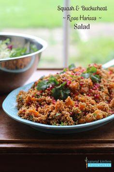 Squash and Buckwheat Rose Harissa Salad, Natural Kitchen Adventures, Gluten Free & Vegan Buckwheat Salad, Rose Harissa, Natural Kitchen, Eastern Cuisine, Vegan Gluten Free, Fried Rice, Squash, Side Dishes, Healthy Recipes