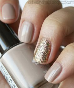 Nude with gold, glitter accent. This is literally how I just painted my nails before seeing this.