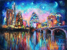 Contemporary Downtown Austin Art Painting Night Skyline Cityscape Painting Texas Painting