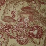 9 1/3 yards Victorian Peacock Garden Repro Handprinted Cotton Toile Home Decorating Fabric
