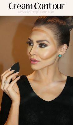 Cream Contour Tutorial - Everything - Make Up Eyeliner Hacks, Makeup Hacks, Makeup Tips, Makeup Routine, Makeup Tutorials, Makeup Products, Makeup Ideas, Beauty Products, Makeup Contouring