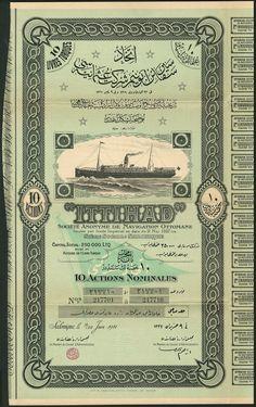 """Ittihad"" S.A. de Navigation Ottomane, certificate for 10 shares of T£1, Salonica 1911"