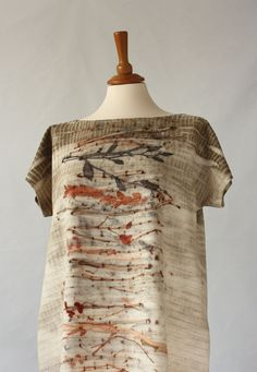 NEW Eco Printed  Silk Tunic Shift Dress S to L size Free Shipping till September 20th
